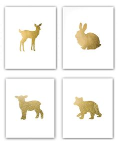 SALE Set of 4 Gilded Prints - Baby Bear Bunny Fawn Deer and Little Lamb in Metallic Gold Leaf 8x10 prints via Etsy