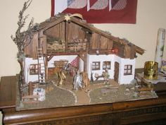 A traditional Austrian nativity scene. Nativity Stable, Nativity Sets, Christmas Holidays, Christmas Decorations, Christmas Nativity Scene, Crib Sets, Diy Crafts For Kids, Cribs, Gazebo