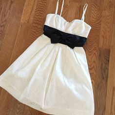 Charlotte Russe dress Worn once, no wear or tear! Charlotte Russe off-white dress with black band under bust and accent bow. Size 1. Charlotte Russe Dresses Prom