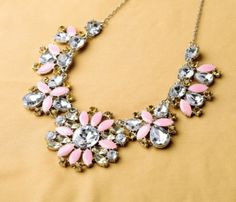 Statement Pendant Necklace With Pink Artificial Gemstones