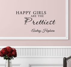 Amazon.com: #3 Happy girls are the prettiest. Audrey Hepburn. Vinyl wall art Inspirational quotes and saying home decor decal sticker: Home & Kitchen