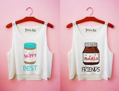 shirt yotta kilo skippy nutella tank top best friends friends peanut butter white tank top top cute girl best friends shirts funny graphic tee t-shirt brown