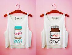 shirt yotta kilo skippy nutella tank top best friends friends peanut butter white tank top top cute girl best friends shirts funny graphic tee t-shirt brown