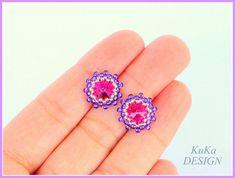 Beads Studs Earrings, Shine & Sparkle Pink, Swarovski Rivoli Stone Fuchsia, Toho Seed Beads