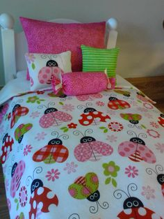 The playful ladybugs 18 doll bedding set will cheer and brighten any dolls bed! Yummy reds, pinks, greens and white make up this set. Patch Quilt, Applique Quilts, Girls Comforter Sets, Butterfly Quilt, Summer Quilts, Baby Quilt Patterns, Doll Beds, Handmade Baby, Home Textile