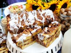 Ted Allen's sticky bun bread pudding is shown here - healthy.....probably not.  Tasty.....I'll bet it is!