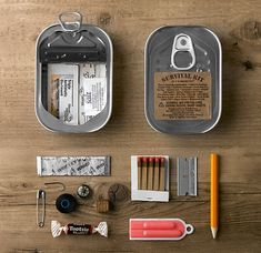 From Things Organized Neatly. Survival kit in a sardine can. Camping Survival, Outdoor Survival, Survival Prepping, Emergency Preparedness, Survival Gear, Survival Skills, Urban Survival, Survival Items, Camping Tools