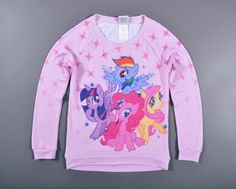 >> Click to Buy << 4-12 yrs little pony T-shirt long-sleeved Autumn cartoon Tees for big girls with thin velvet out for spring #Affiliate