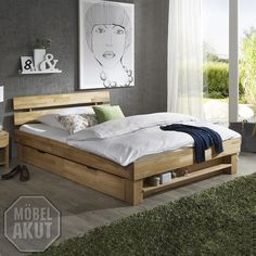 """/ Bed """"Perito"""", made from solid beech. Guest Bedroom Decor, Bedroom Colors, Home Design, Diy Furniture, Outdoor Furniture, Outdoor Decor, Bed Plans, Decoration, Wood Crafts"""