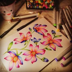 Flowers illustration by @marinabarbato #copic #copicmarkers