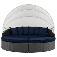 Sojourn 4 Sections & Canopy Outdoor Patio Sunbrella Daybed - Canvas/Navy (Blue) - Modway
