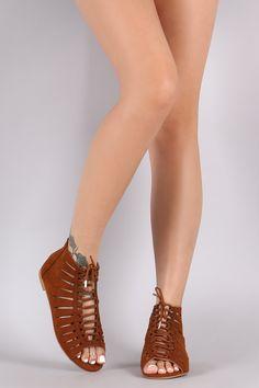 Bamboo Suede Slash Cutout Lace-Up Flat Sandal – Style Lavish Cute Sandals, Flat Sandals, Cute Shoes, Shoes Sandals, Flats, Heels, Prom Shoes Silver, Leather Gladiator Sandals, Designer Sandals
