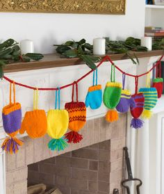 Bright Hats and Mitts Garland Free Knitting Pattern from Red Heart Yarns