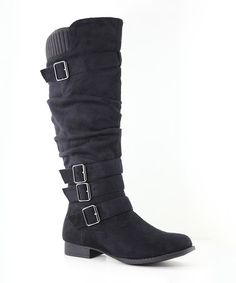 Another great find on #zulily! Black Slouch Juno Boot #zulilyfinds