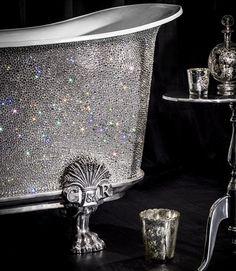 Custom Swarovski crystal studded antique claw foot bath tub   The House of Beccaria#