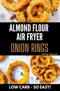 Anytime I can satisfy my cravings for crispy fried food in a way that doesn't involve a lot of carbs I am ecstatic. Almond Flour Air Fryer Onion Rings are one of my go-to appetizers. They are so crispy and perfect for game day. #kickingcarbs #lowcarbrecipe #ketoappetizer #keto #onionrings Low Carb Appetizers, Great Appetizers, Appetizer Recipes, Dinner Recipes, Party Appetizers, Side Recipes, Beef Recipes, Low Carb Recipes, Steak And Onions