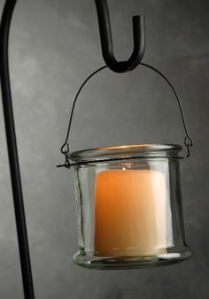 Hanging Glass Candle Holder with Metal Hanger - 18/$42