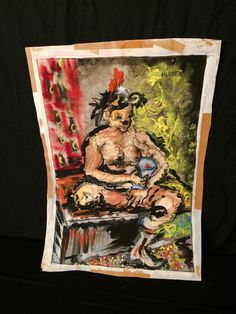 Original Vintage Art Mixed Media Painting by oldfangledcool