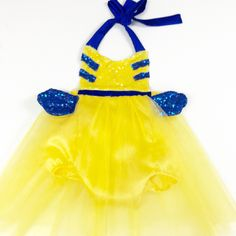 Flounder Costume Yellow Fish Mermaid Best Friend Tutu Dress Sparkle Romper