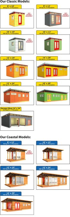 Modern-Shed Classic and Coastal Models New Patio Ideas, Studio Shed, Modern Shed, Backyard Studio, Small Cottages, Bike Shed, Prefabricated Houses, Shed Design, Shipping Container Homes