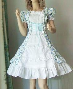 White Blue Flowers Country Lolita Cotton Dress