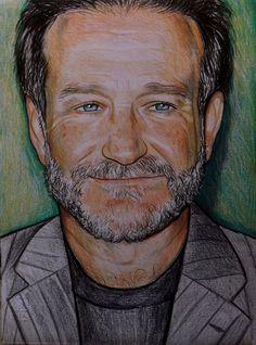 Robin #Williams  ritratto pastelli su cartoncino disegnato a mano, by Velours Noir Crèations, 90,00€ su #misshobby.com