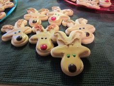 Reindeer Cookies.  These were so much fun to make.  Sugar cookies cut out with a gingerbread cutter, turned upside down and decorated with royal icing.