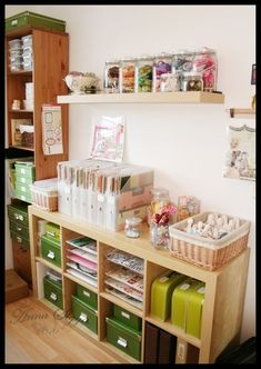 Love the depth of the blond shelf unit....I want 2 or 3 of them!!