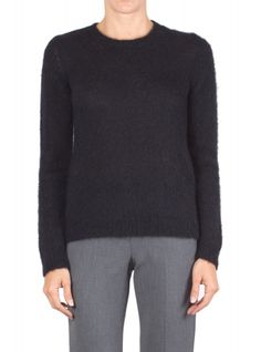 Jucca - Sweater - 300800 - Black - 18500   Wool blend sweater. Round neckline. Long sleeve. Ribbed profiles on the neck cuffs and hem. Straight cut. Fabric composition: 35% Alpaca 35% mohair 30% polyamide. Made in Italy. The model wears the size S and is 175 cm high.