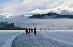 11- Stadte -tour Weissensee Eisstaerke: 21.1.2015 26 cm Streckenlaenge: 12,5 km 16 Runden fuer die 200 km sind zu absolvieren. Quelle:Weissensee