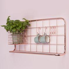 Etagère murale en métal cuivré Open grid Pt Kitchen
