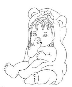 Baby Coloring Pages, Disney Coloring Pages, Coloring Books, Painting Patterns, Fabric Painting, Applique Designs Free, Love Birds Painting, Minnie Baby, Indian Art Paintings