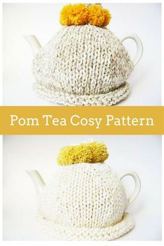 knitting basics Simple pom tea cosy knitting pattern by Handy Little Me. The pom cosy is great for beginner knitters as it uses the knitting basics. Tea Cosy Knitting Pattern, Tea Cosy Pattern, Easy Knitting Patterns, Knitting Yarn, Free Knitting, Knitting Ideas, Finger Knitting, Scarf Patterns, Knitting Tutorials
