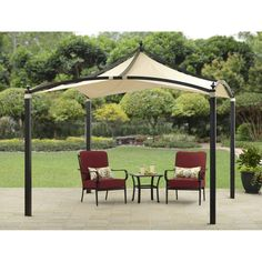 Modern Patio Furniture Gazebo 10' x 10' Party Pavilion Outdoor Canopy Tent Steel #GardenFurniture