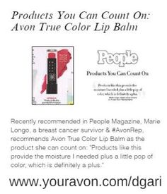 Check out breast cancer survivor & #AvonRep Marie Longo's favorite product ft. in People Magazine! http://production.socialmediacenter.avonsocialtools.com/share?m=165&p=39f68584adf0985b9ac5a0274b811a8c&s=rep&srct=share&srci=7193 #makeup #lipbalm #beauty