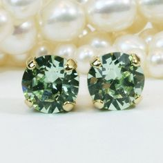 Green Studs Pale Green Mint Crystal Earrings Post Earrings 8mm Swarovski studs Mint Green Wedding,post earrings,Gold finish,Chrysolite,GE1