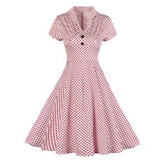 Vintage Buttoned Polka Dot Pin Up Dress - RED 2XL