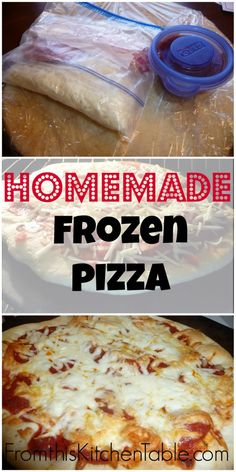 How simple! Love that I can do this and stock the freezer instead of buying them. | Homemade Frozen Pizza. A great way to have supper in the oven in minutes!