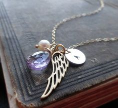 Personalized angel wing necklace, initial charm necklace, remembrance necklace, birthstone, Angel necklace, guardian angel, Angel in heaven