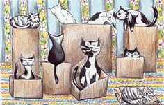 Cute Cat Drawing  Original Artwork  Cats Love by Michelebuttons, $30.00