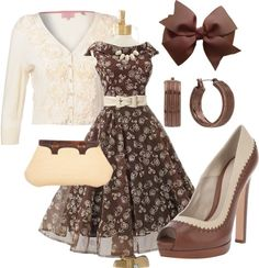 """Vintage Spring"" by mrspainter on Polyvore//solid brown or tan heels & bag// white necklace"
