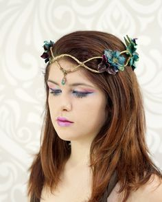 Gold Elven Crown, Dark Teal and Purple, Elven Headpiece, Elven Headdress, Fairy Crown, Woodland Flower Crown, Circlet, Costume Headpiece by RuthNoreDesigns on Etsy