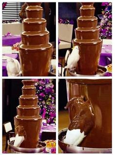 Chocolate fountains aren't a good idea because the chocolate has to be really oily to flow properly and is difficult to set up as it needs to be perfectly level. Not to mention a pet parrot can get stuck in it.