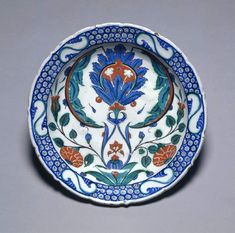 Maker: Unknown; potter Collection: C.B. Marlay Category: fritware (stonepaste) Name(s): dish Islamic pottery; category Iznik; category Date: circa 1575 — circa 1580 School/Style: Ottoman Period: late 16th Century
