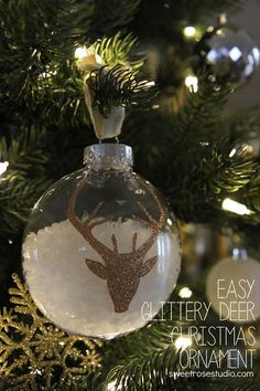 Easy Glittery Deer Christmas Ornament at Sweet Rose Studio 1