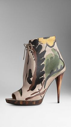 Hand-Painted Leather Ankle Boots | Burberry