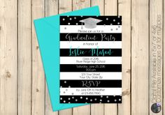 Black and White Graduation Invitation, Turquoise, Black & White Stripe, Silver Confetti Graduation Party Invite, Shower Invitation, DIGITAL by SquishyDesignsbyMe on Etsy