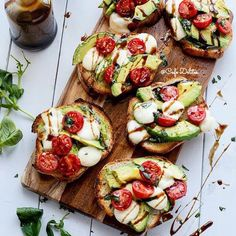 """Grilled Avocado Caprese Crostini Credits @CafeDelites at http://cafedelites.com/ Check her out @CafeDelites Ingredients 8 pieces thick sliced sourdough…"""