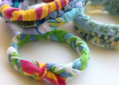 Upcycled / Recycled T-Shirt Bangles #bracelets #crafts #DIY