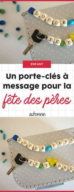 DIY : Un porte-clés à message pour papa. #DIY #tuto #pasapas #cadeau #papa #maman #fetedesperes #Ludikid #aufeminin #portecle